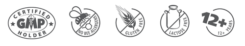 GMP certified holder, no bee allergens, gluten free, lactose free, from 12 years